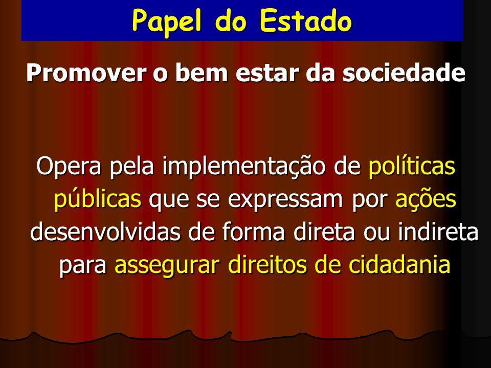 Papel do Estado Promover o bem estar da sociedade Opera pela implementação de políticas públicas que se expressam por ações desenvolvidas de forma dir