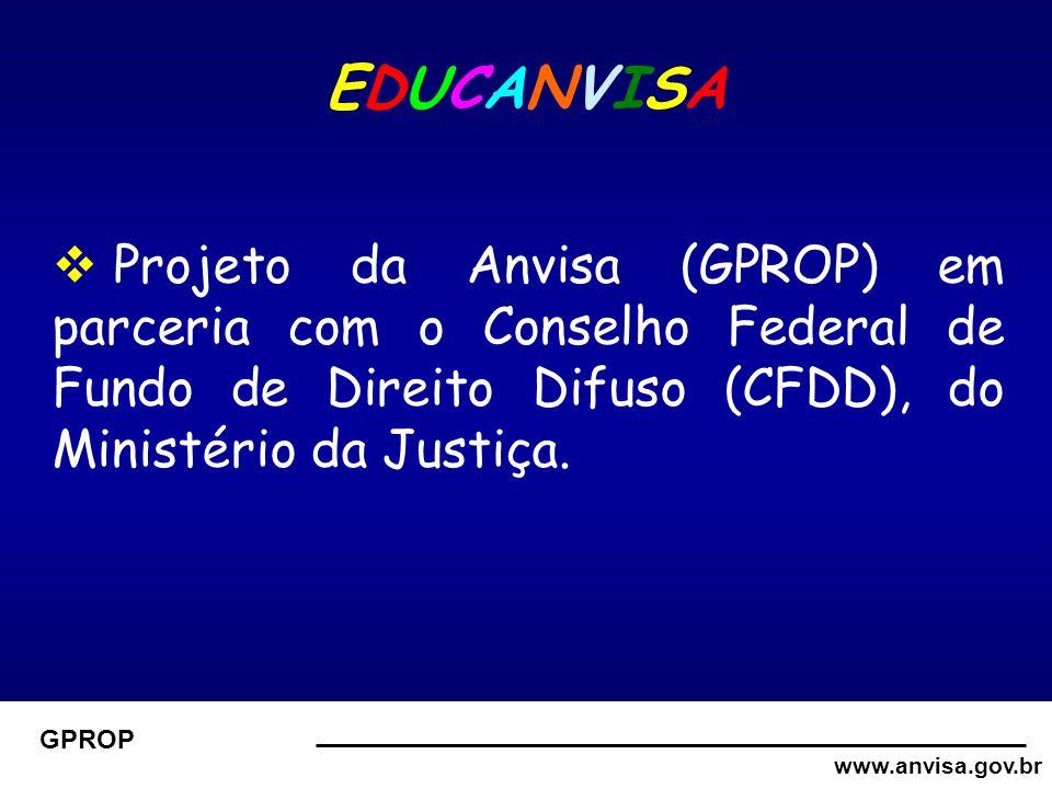www.anvisa.gov.br GPROP EDUCANVISAEDUCANVISA  Projeto da Anvisa (GPROP) em parceria com o Conselho Federal de Fundo de Direito Difuso (CFDD), do Ministério da Justiça.