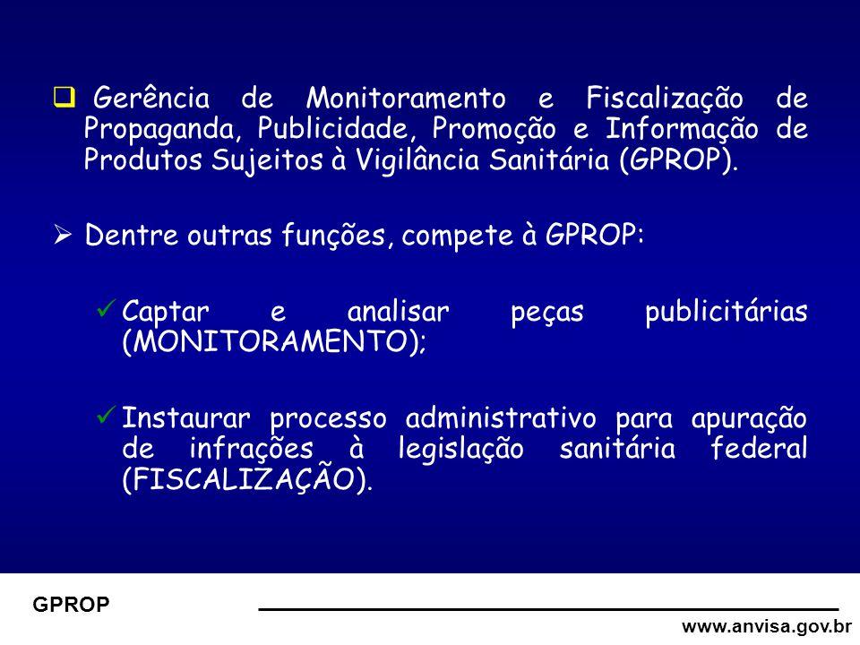 www.anvisa.gov.br GPROP  Gerência de Monitoramento e Fiscalização de Propaganda, Publicidade, Promoção e Informação de Produtos Sujeitos à Vigilância Sanitária (GPROP).