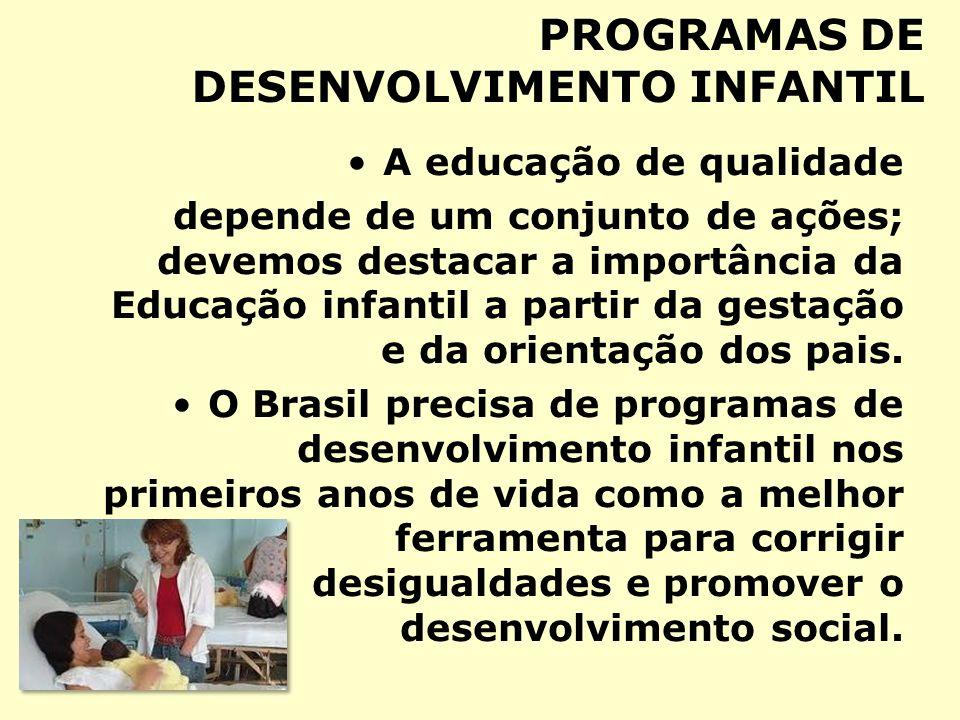 PROGRAMAS DE DESENVOLVIMENTO INFANTIL A educação de qualidade depende de um conjunto de ações; devemos destacar a importância da Educação infantil a p