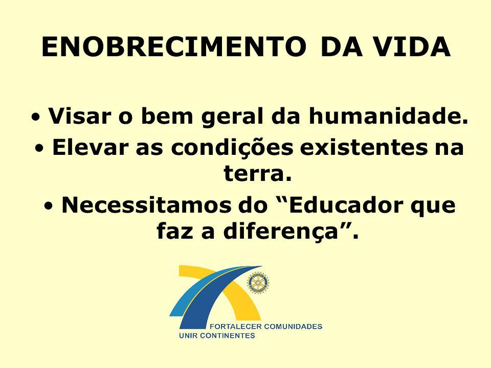 """ENOBRECIMENTO DA VIDA Visar o bem geral da humanidade. Elevar as condições existentes na terra. Necessitamos do """"Educador que faz a diferença""""."""