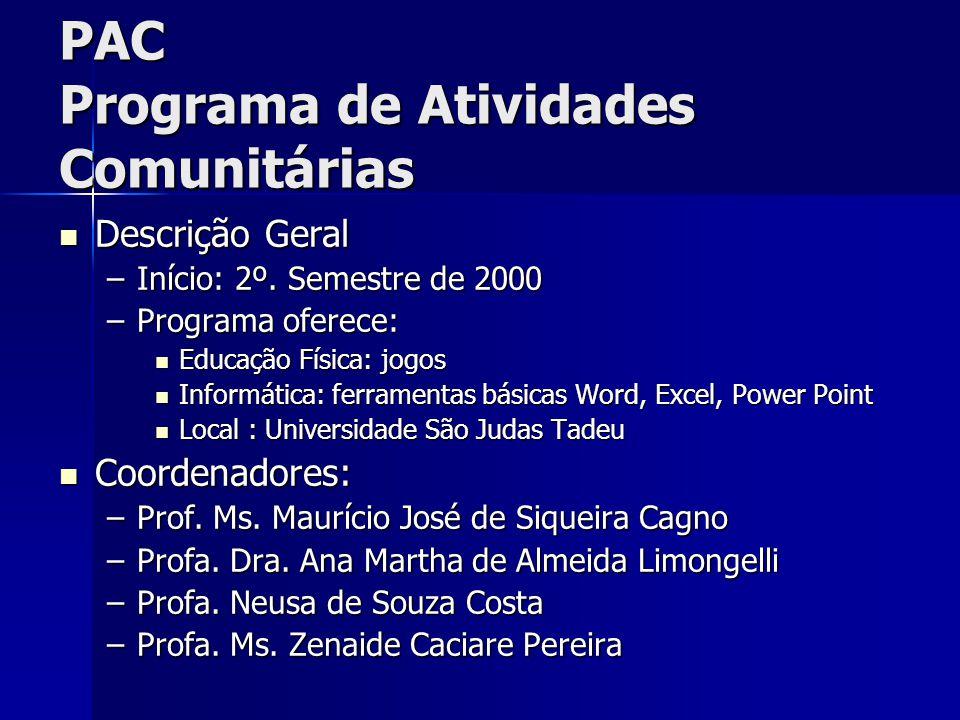 PAC Programa de Atividades Comunitárias Descrição Geral Descrição Geral –Início: 2º.