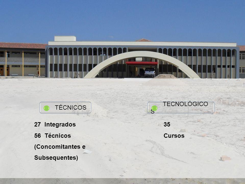 TÉCNICOS 27 Integrados 56 Técnicos (Concomitantes e Subsequentes) TECNOLÓGICO S 35 Cursos