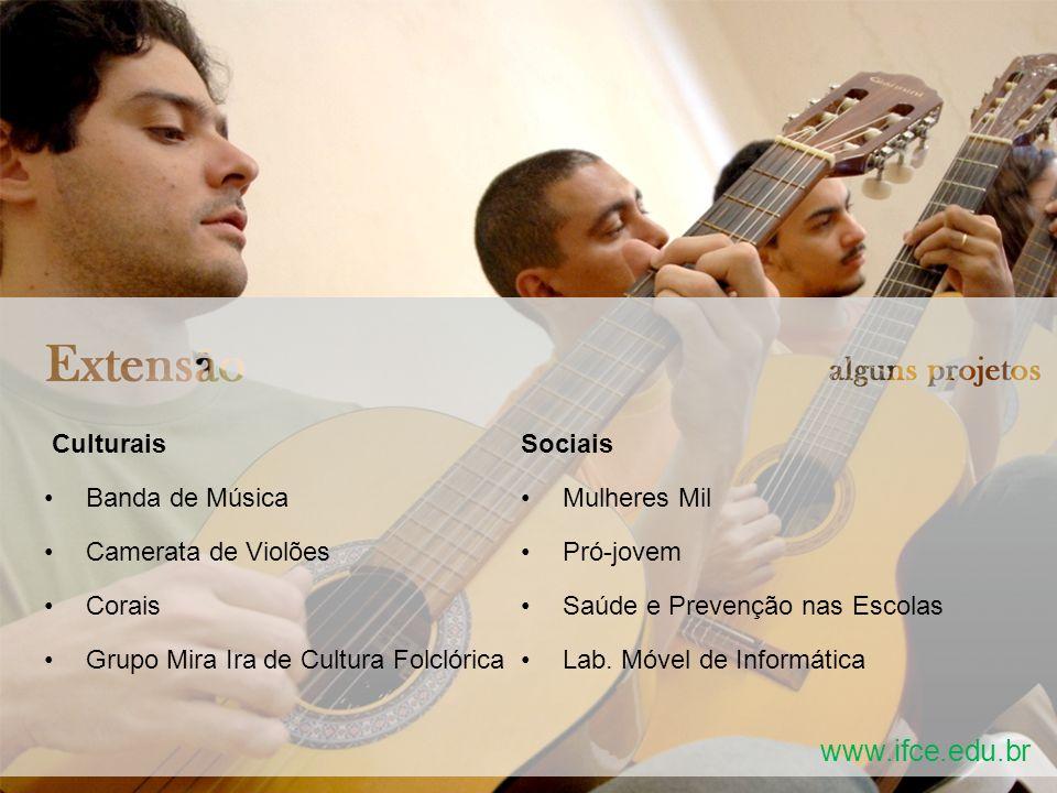 Culturais Banda de Música Camerata de Violões Corais Grupo Mira Ira de Cultura Folclórica Sociais Mulheres Mil Pró-jovem Saúde e Prevenção nas Escolas Lab.
