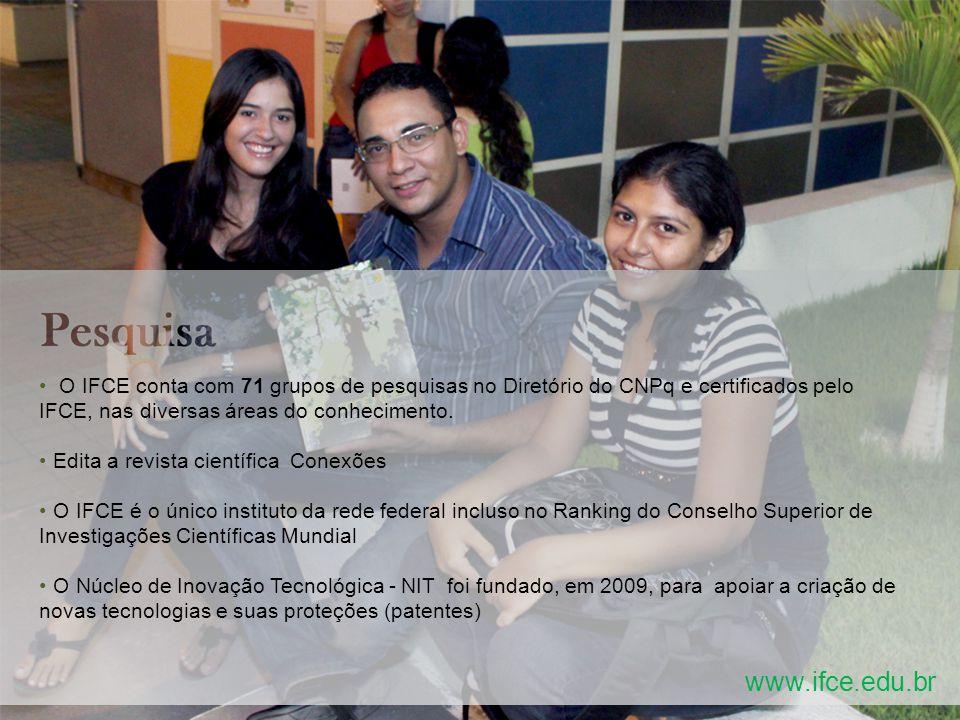 www.ifce.edu.br O IFCE conta com 71 grupos de pesquisas no Diretório do CNPq e certificados pelo IFCE, nas diversas áreas do conhecimento.