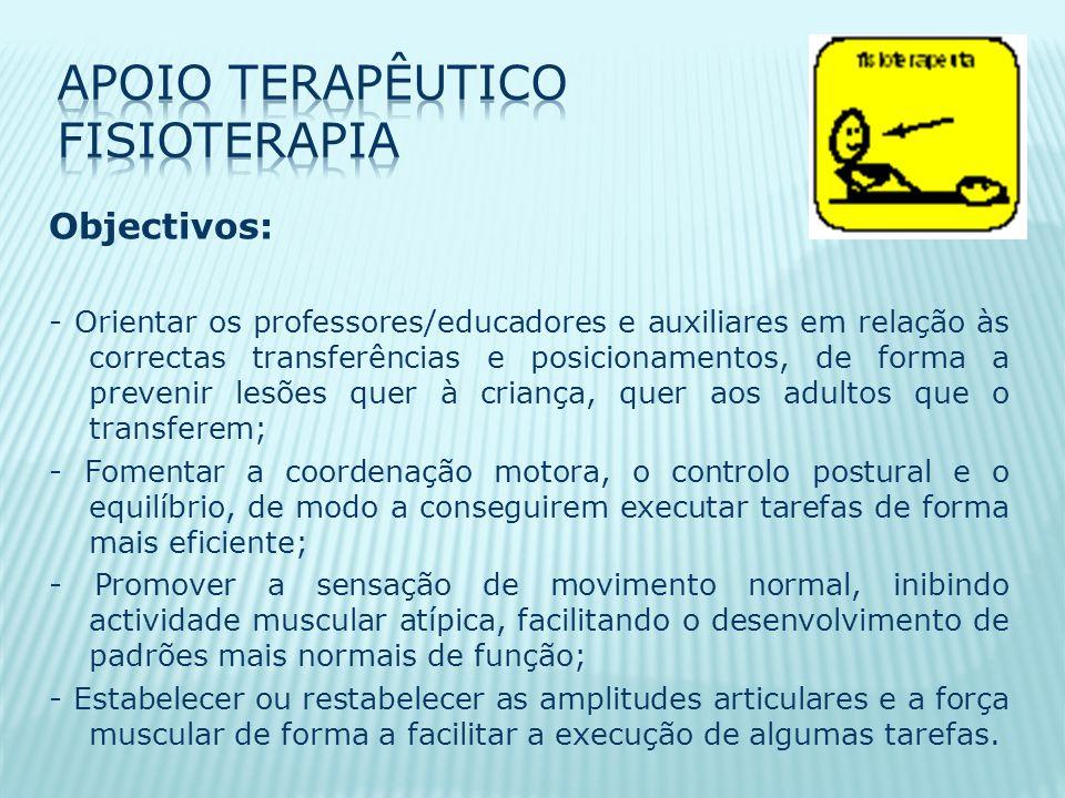 Objectivos: - Orientar os professores/educadores e auxiliares em relação às correctas transferências e posicionamentos, de forma a prevenir lesões quer à criança, quer aos adultos que o transferem; - Fomentar a coordenação motora, o controlo postural e o equilíbrio, de modo a conseguirem executar tarefas de forma mais eficiente; - Promover a sensação de movimento normal, inibindo actividade muscular atípica, facilitando o desenvolvimento de padrões mais normais de função; - Estabelecer ou restabelecer as amplitudes articulares e a força muscular de forma a facilitar a execução de algumas tarefas.