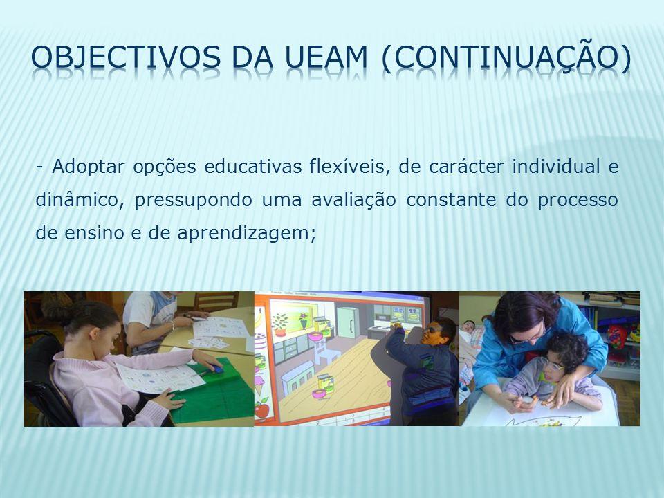 - Adoptar opções educativas flexíveis, de carácter individual e dinâmico, pressupondo uma avaliação constante do processo de ensino e de aprendizagem;