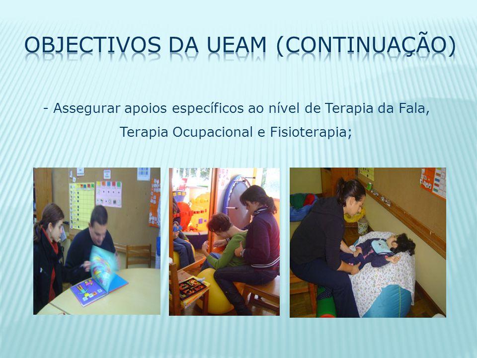 - Assegurar apoios específicos ao nível de Terapia da Fala, Terapia Ocupacional e Fisioterapia;