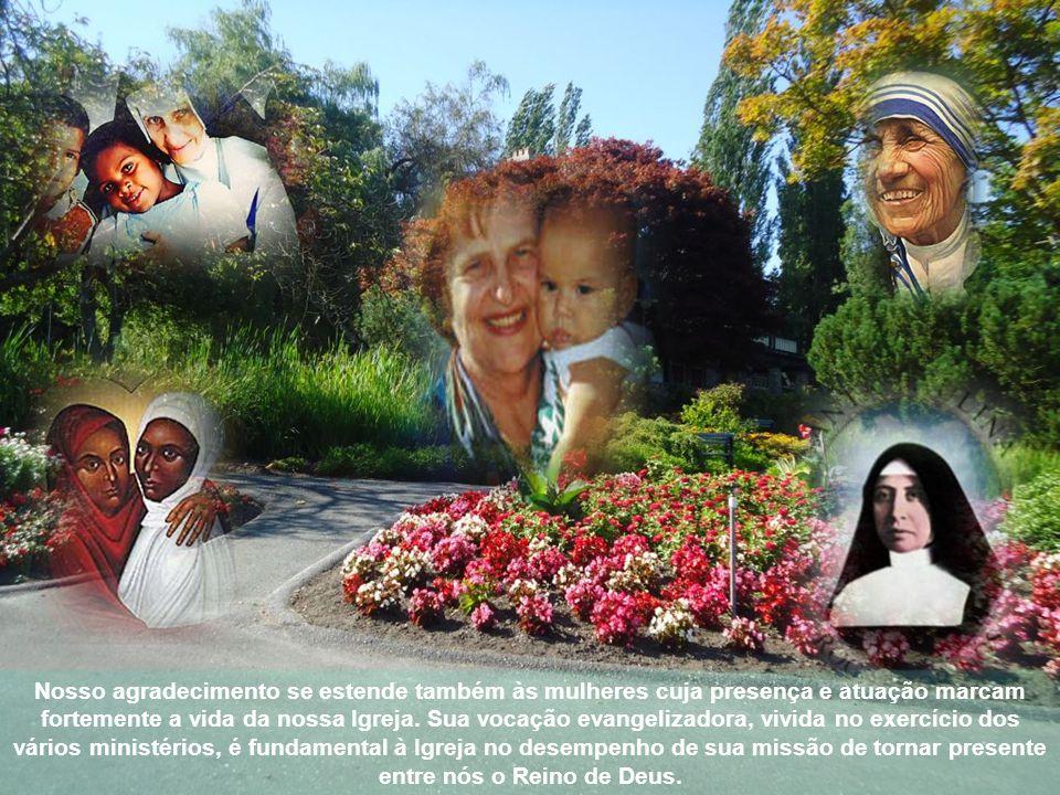à mulher-trabalhadora, empenhada em todos os âmbitos da vida social, econômica, cultural, artística, política, pela contribuição indispensável que dá à elaboração de uma cultura capaz de conjugar razão e sentimento, à edificação de estruturas econômicas e políticas mais ricas de humanidade; à mulher-consagrada, que se abre com docilidade e fidelidade ao amor de Deus; à mulher, pelo simples fato de ser mulher que, com a percepção que é própria da sua feminilidade, enriquece a compreensão do mundo e contribui para a verdade plena das relações humanas (cf.