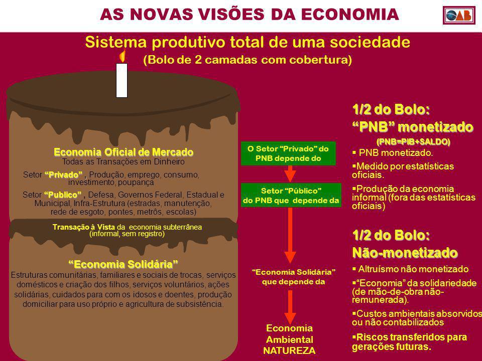 """AS NOVAS VISÕES DA ECONOMIA Economia Oficial de Mercado Todas as Transações em Dinheiro """"Privado"""", Setor """"Privado"""", Produção, emprego, consumo, invest"""