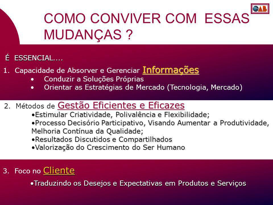 Informações 1. Capacidade de Absorver e Gerenciar Informações Conduzir a Soluções Próprias Orientar as Estratégias de Mercado (Tecnologia, Mercado) Cl