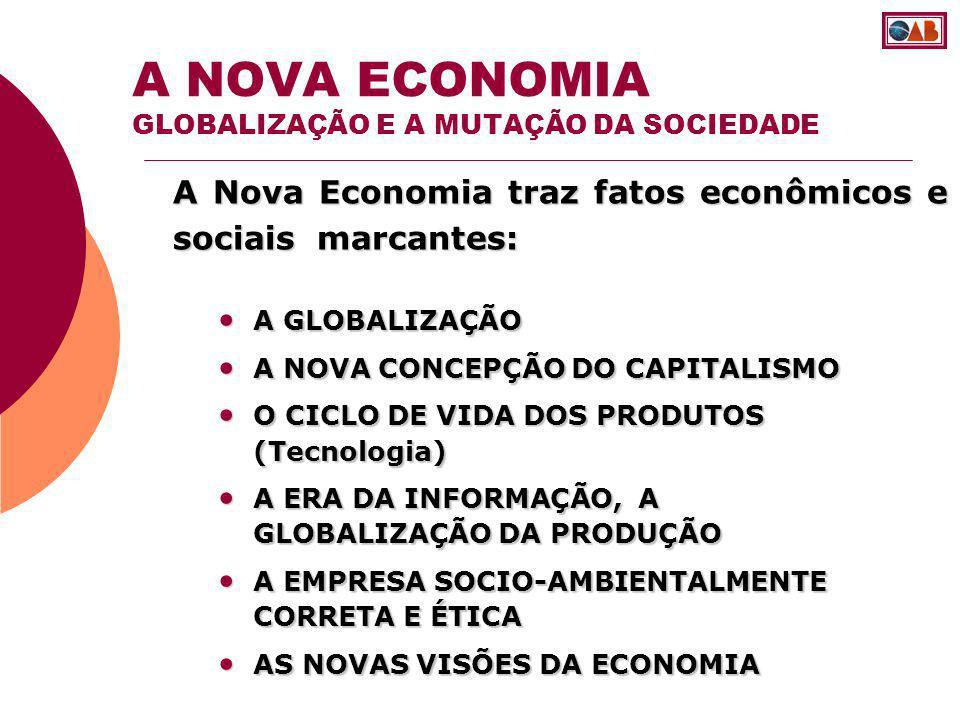 A Nova Economia traz fatos econômicos e sociais marcantes: A NOVA ECONOMIA GLOBALIZAÇÃO E A MUTAÇÃO DA SOCIEDADE A GLOBALIZAÇÃO A GLOBALIZAÇÃO A NOVA