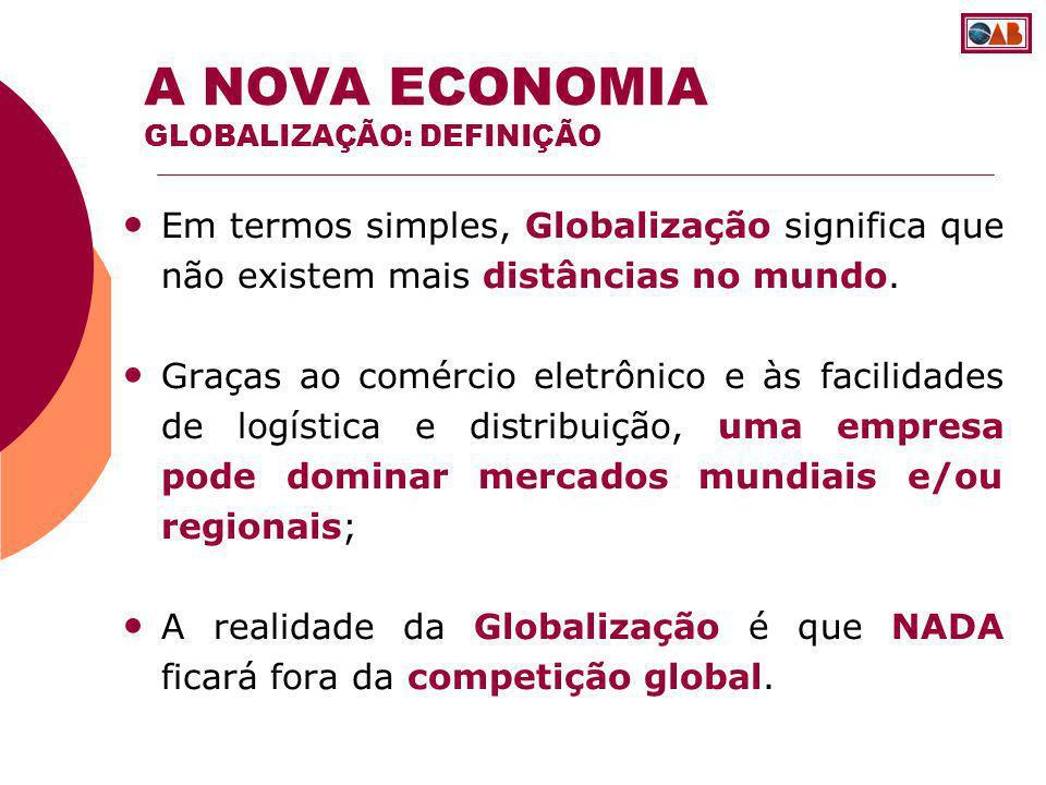 Em termos simples, Globalização significa que não existem mais distâncias no mundo. Graças ao comércio eletrônico e às facilidades de logística e dist