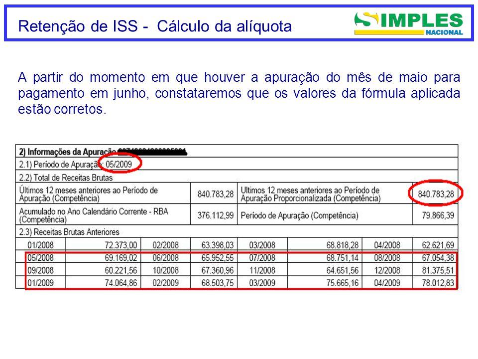 Retenção de ISS - Cálculo da alíquota A partir do momento em que houver a apuração do mês de maio para pagamento em junho, constataremos que os valores da fórmula aplicada estão corretos.