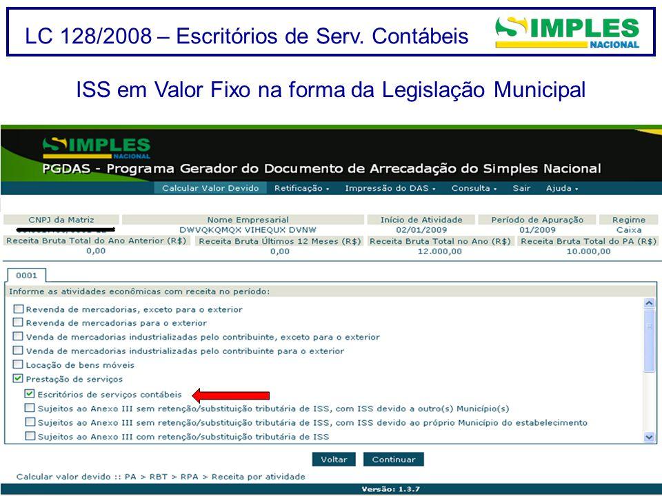 LC 128/2008 – Escritórios de Serv. Contábeis ISS em Valor Fixo na forma da Legislação Municipal