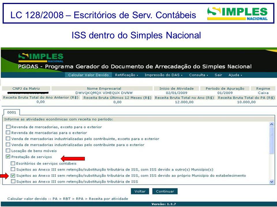 LC 128/2008 – Escritórios de Serv. Contábeis ISS dentro do Simples Nacional