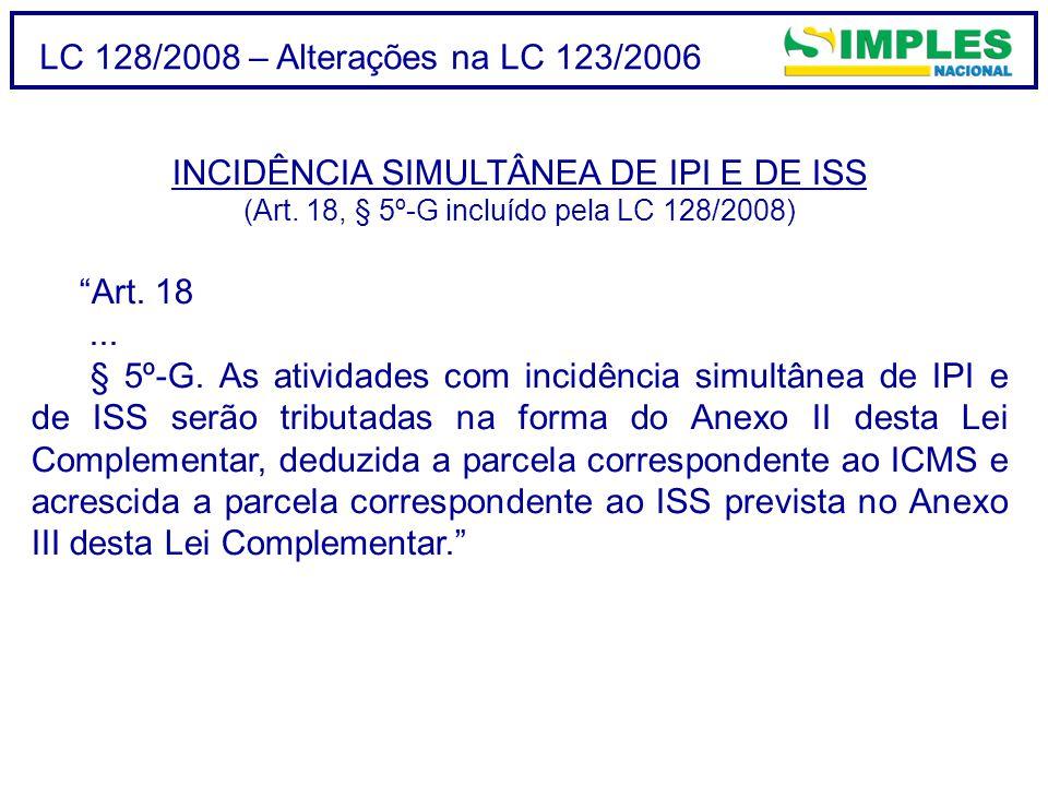 LC 128/2008 – Alterações na LC 123/2006 INCIDÊNCIA SIMULTÂNEA DE IPI E DE ISS (Art.