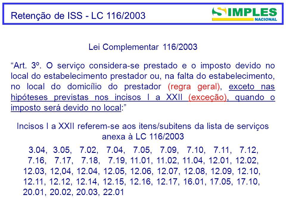 Retenção de ISS - até 31/12/2008 Art.18 (...) § 6º.