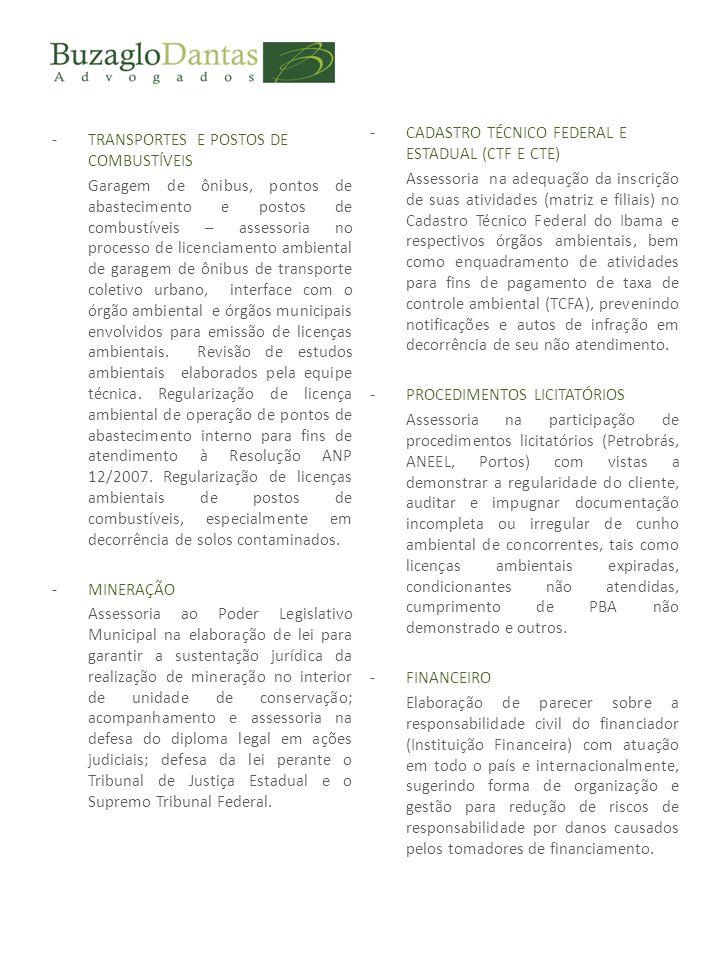 -CADASTRO TÉCNICO FEDERAL E ESTADUAL (CTF E CTE) Assessoria na adequação da inscrição de suas atividades (matriz e filiais) no Cadastro Técnico Federal do Ibama e respectivos órgãos ambientais, bem como enquadramento de atividades para fins de pagamento de taxa de controle ambiental (TCFA), prevenindo notificações e autos de infração em decorrência de seu não atendimento.
