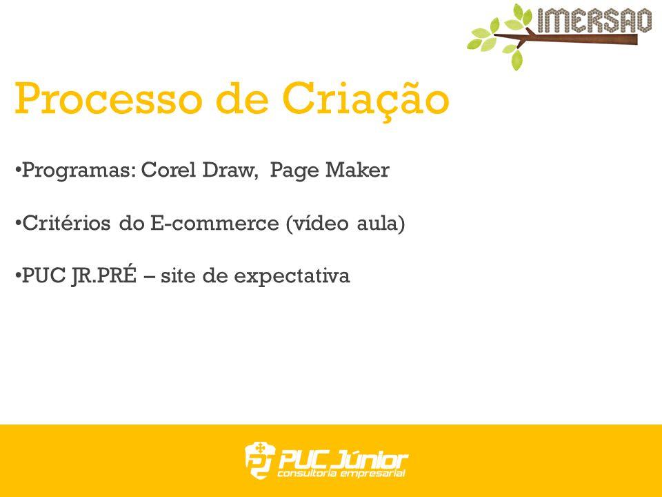 Processo de Criação Programas: Corel Draw, Page Maker Critérios do E-commerce (vídeo aula) PUC JR.PRÉ – site de expectativa