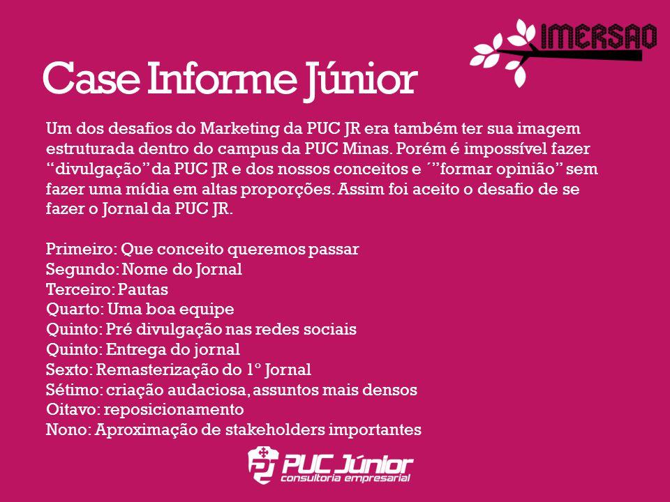 Case Informe Júnior Um dos desafios do Marketing da PUC JR era também ter sua imagem estruturada dentro do campus da PUC Minas.