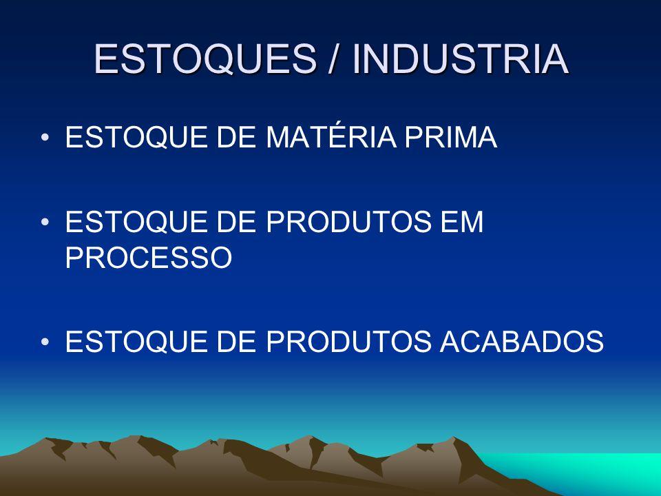 ESTOQUES / INDUSTRIA ESTOQUE DE MATÉRIA PRIMA ESTOQUE DE PRODUTOS EM PROCESSO ESTOQUE DE PRODUTOS ACABADOS