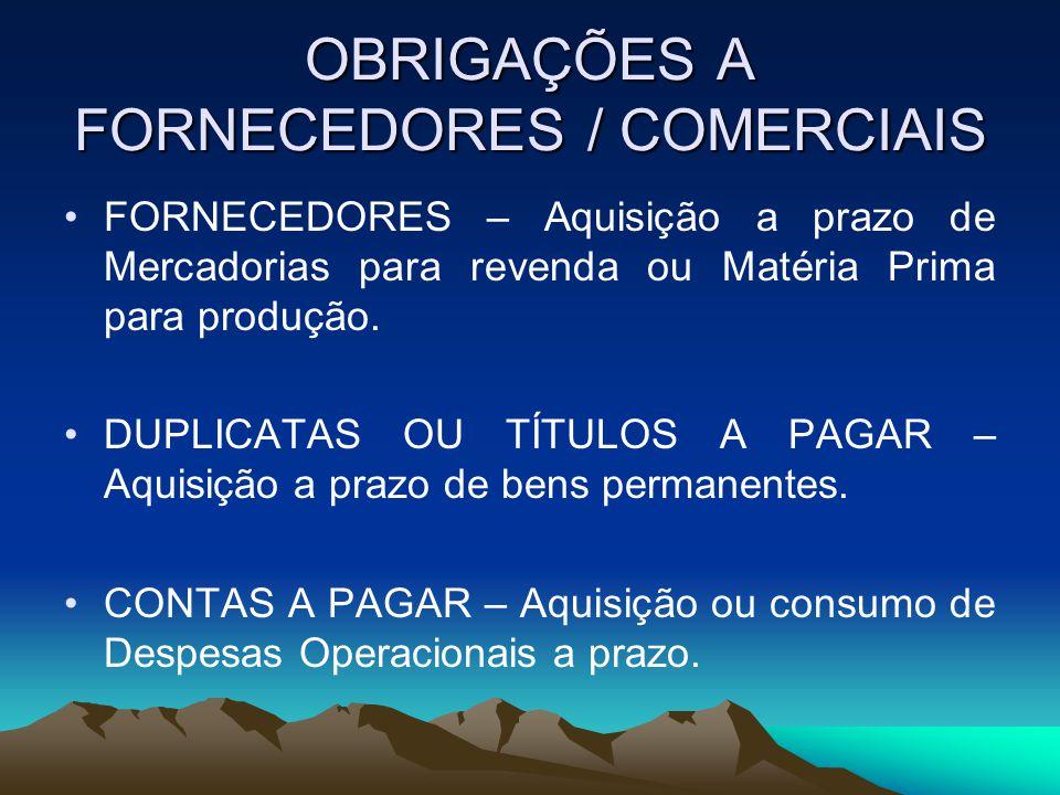OBRIGAÇÕES A FORNECEDORES / COMERCIAIS FORNECEDORES – Aquisição a prazo de Mercadorias para revenda ou Matéria Prima para produção.