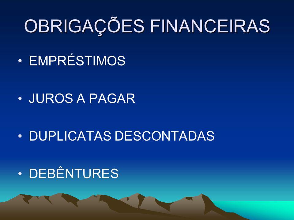 OBRIGAÇÕES FINANCEIRAS EMPRÉSTIMOS JUROS A PAGAR DUPLICATAS DESCONTADAS DEBÊNTURES