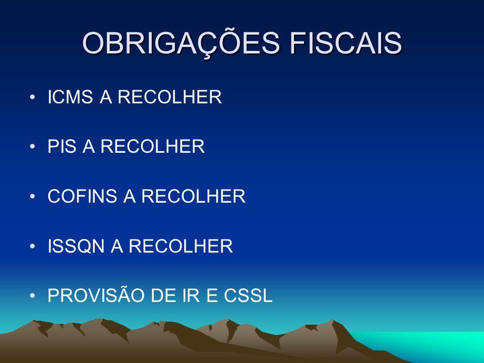 OBRIGAÇÕES FISCAIS ICMS A RECOLHER PIS A RECOLHER COFINS A RECOLHER ISSQN A RECOLHER PROVISÃO DE IR E CSSL