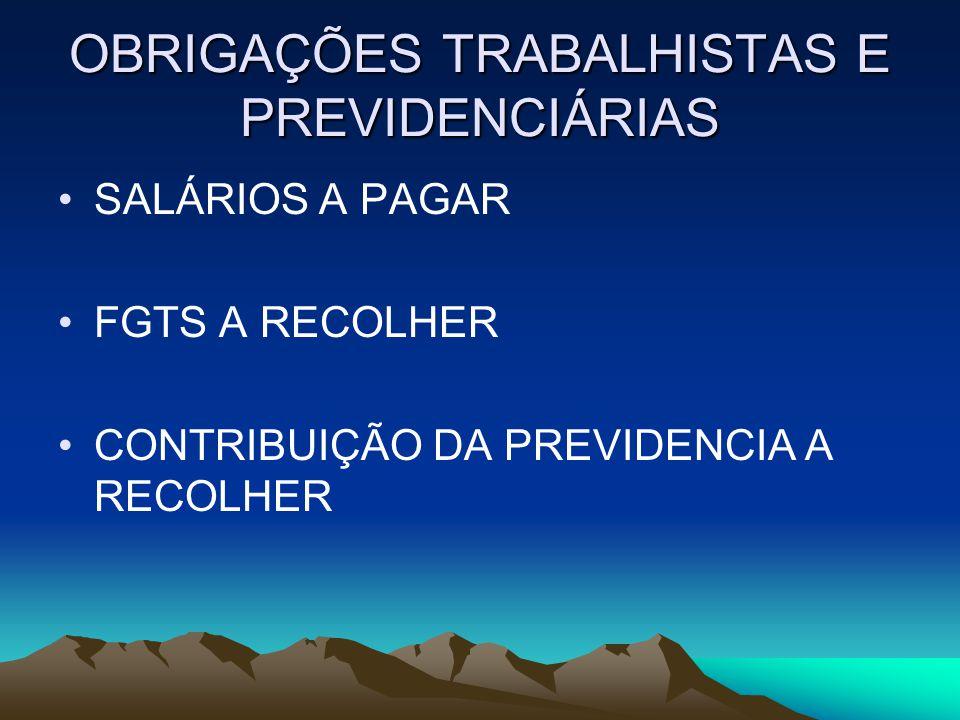 OBRIGAÇÕES TRABALHISTAS E PREVIDENCIÁRIAS SALÁRIOS A PAGAR FGTS A RECOLHER CONTRIBUIÇÃO DA PREVIDENCIA A RECOLHER