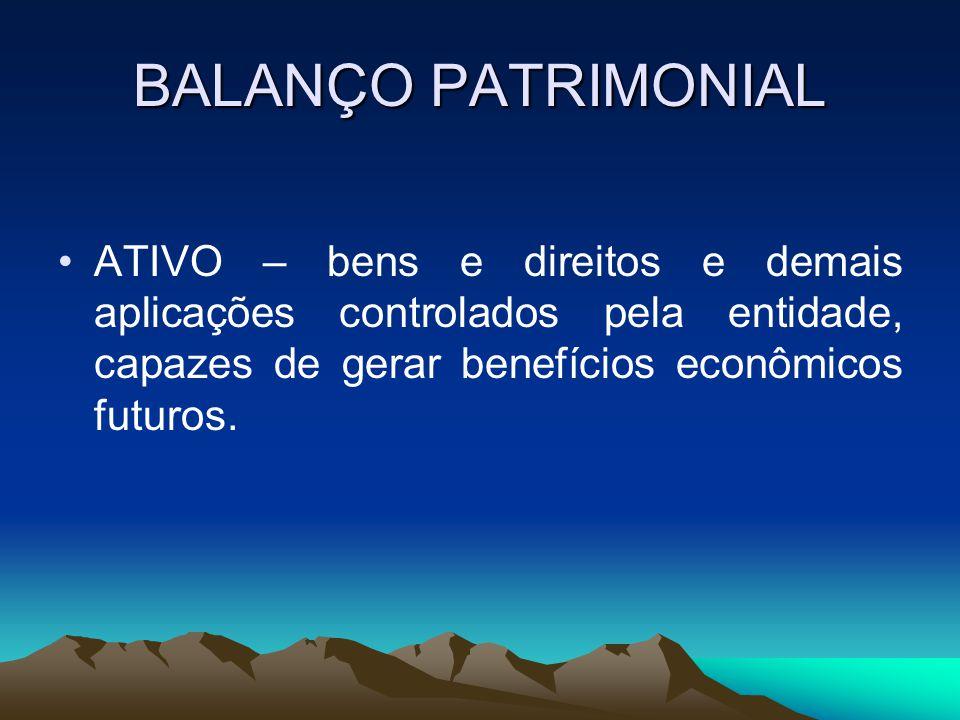 BALANÇO PATRIMONIAL PASSIVO – compreende as origens ou fontes de recursos representados pelas obrigações ou dívidas junto a terceiros.