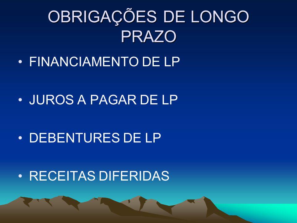 OBRIGAÇÕES DE LONGO PRAZO FINANCIAMENTO DE LP JUROS A PAGAR DE LP DEBENTURES DE LP RECEITAS DIFERIDAS