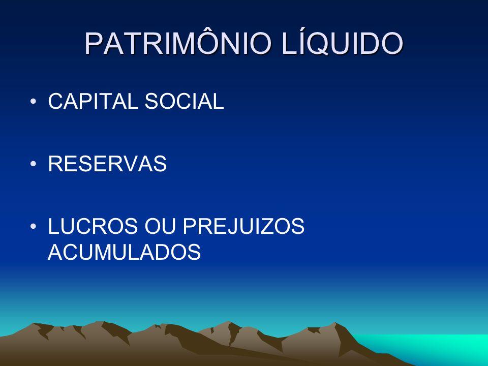 PATRIMÔNIO LÍQUIDO CAPITAL SOCIAL RESERVAS LUCROS OU PREJUIZOS ACUMULADOS