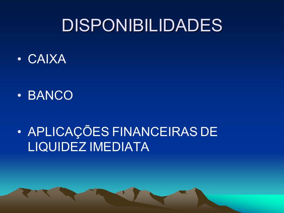 DISPONIBILIDADES CAIXA BANCO APLICAÇÕES FINANCEIRAS DE LIQUIDEZ IMEDIATA