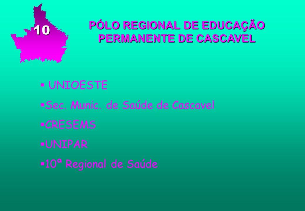 PÓLO REGIONAL DE EDUCAÇÃO PERMANENTE DE CASCAVEL   UNIOESTE   Sec. Munic. de Saúde de Cascavel   CRESEMS   UNIPAR   10ª Regional de Saúde 10