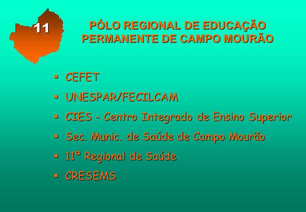 PÓLO REGIONAL DE EDUCAÇÃO PERMANENTE DE CAMPO MOURÃO  CEFET  UNESPAR/FECILCAM  CIES - Centro Integrado de Ensino Superior  Sec. Munic. de Saúde de