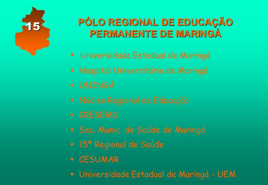 PÓLO REGIONAL DE EDUCAÇÃO PERMANENTE DE MARINGÁ   Universidade Estadual de Maringá   Hospital Universitário de Maringá   UNINGÁ   Núcleo Regio