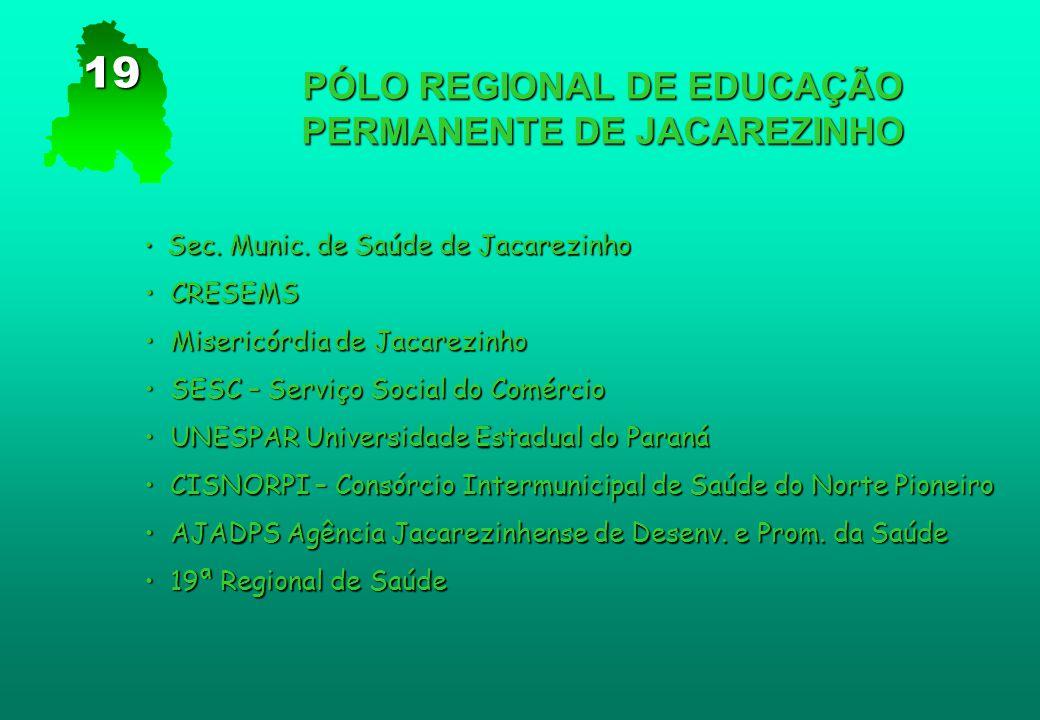 PÓLO REGIONAL DE EDUCAÇÃO PERMANENTE DE JACAREZINHO Sec. Munic. de Saúde de Jacarezinho Sec. Munic. de Saúde de Jacarezinho CRESEMS CRESEMS Misericórd