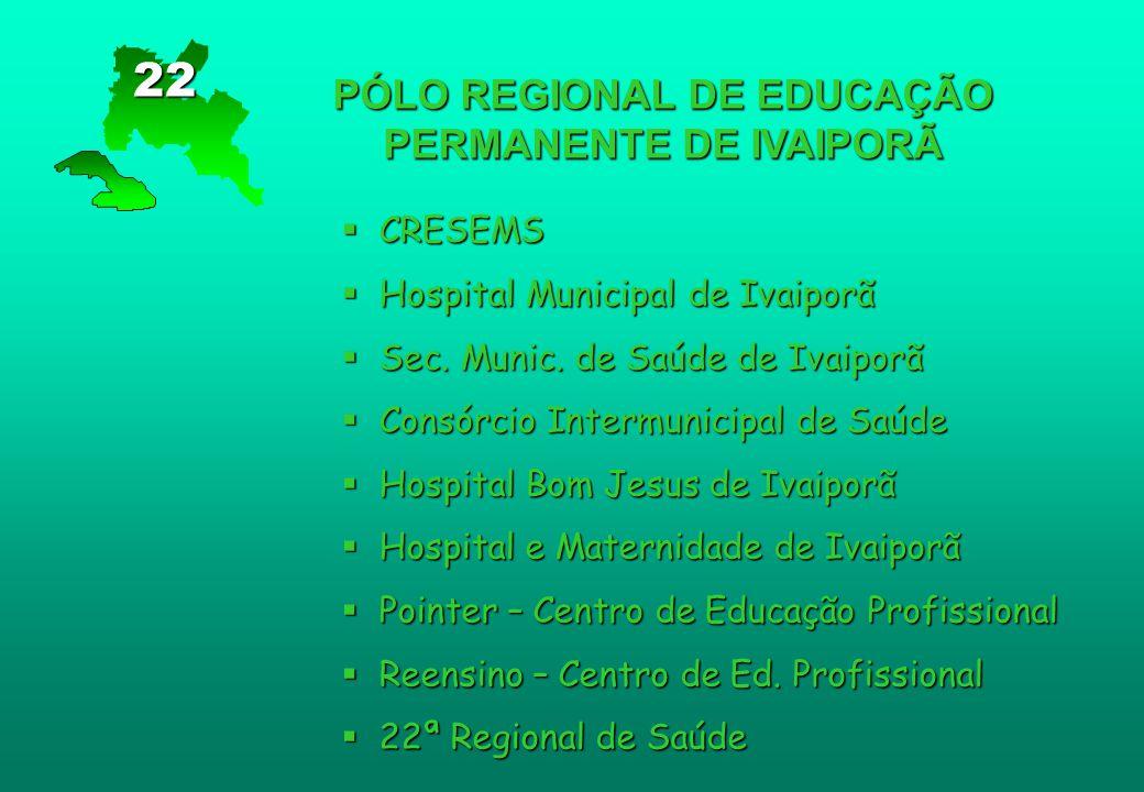 PÓLO REGIONAL DE EDUCAÇÃO PERMANENTE DE IVAIPORÃ  CRESEMS  Hospital Municipal de Ivaiporã  Sec. Munic. de Saúde de Ivaiporã  Consórcio Intermunici
