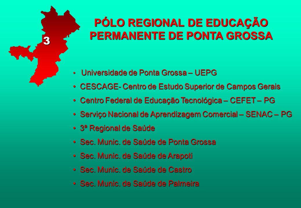 PÓLO REGIONAL DE EDUCAÇÃO PERMANENTE DE PONTA GROSSA Universidade de Ponta Grossa – UEPG Universidade de Ponta Grossa – UEPG CESCAGE- Centro de Estudo