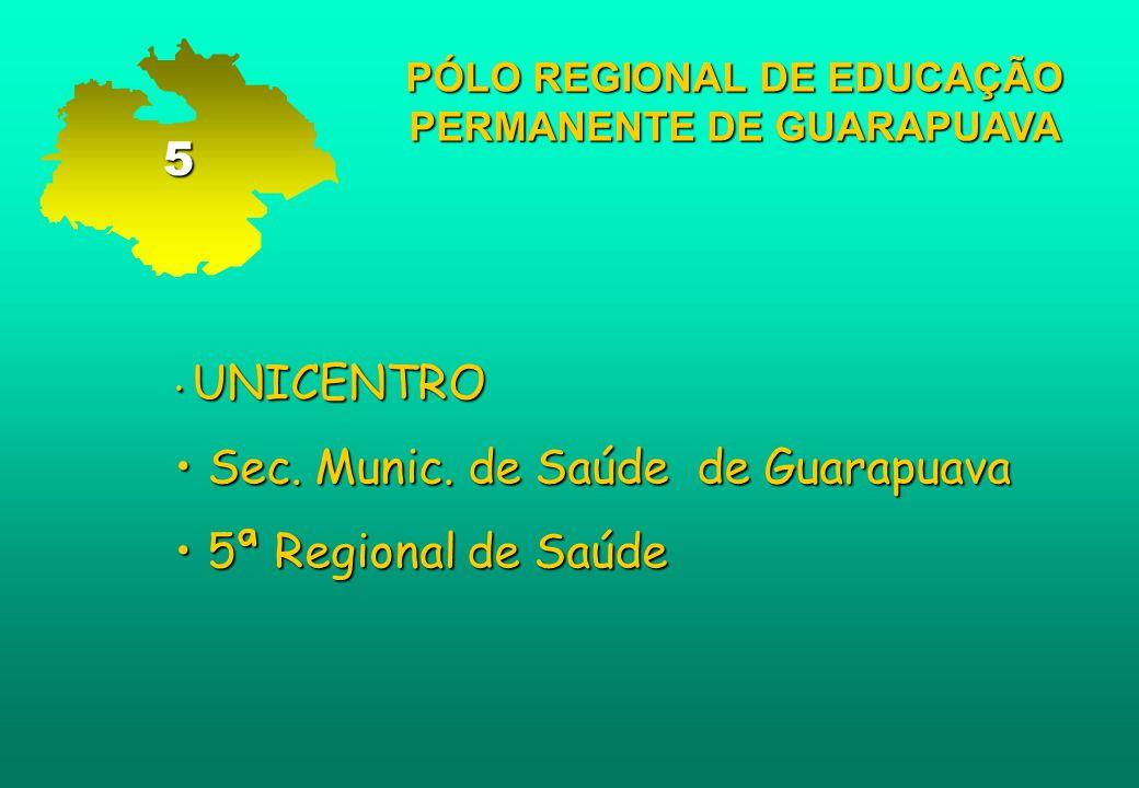 PÓLO REGIONAL DE EDUCAÇÃO PERMANENTE DE GUARAPUAVA UNICENTRO UNICENTRO Sec. Munic. de Saúde de Guarapuava Sec. Munic. de Saúde de Guarapuava 5ª Region