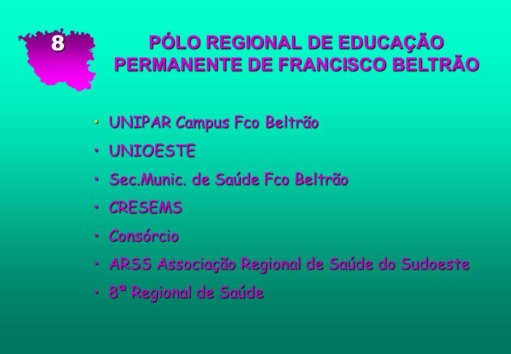 PÓLO REGIONAL DE EDUCAÇÃO PERMANENTE DE FRANCISCO BELTRÃO UNIPAR Campus Fco Beltrão UNIPAR Campus Fco Beltrão UNIOESTE UNIOESTE Sec.Munic. de Saúde Fc