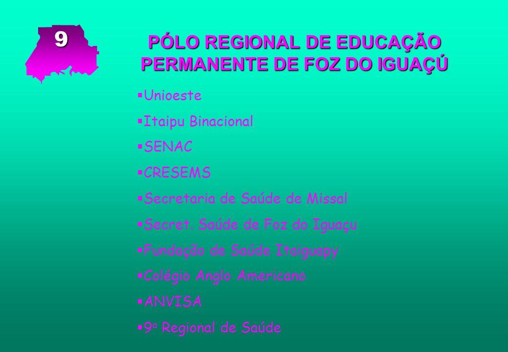 PÓLO REGIONAL DE EDUCAÇÃO PERMANENTE DE FOZ DO IGUAÇÚ   Unioeste   Itaipu Binacional   SENAC   CRESEMS   Secretaria de Saúde de Missal   S