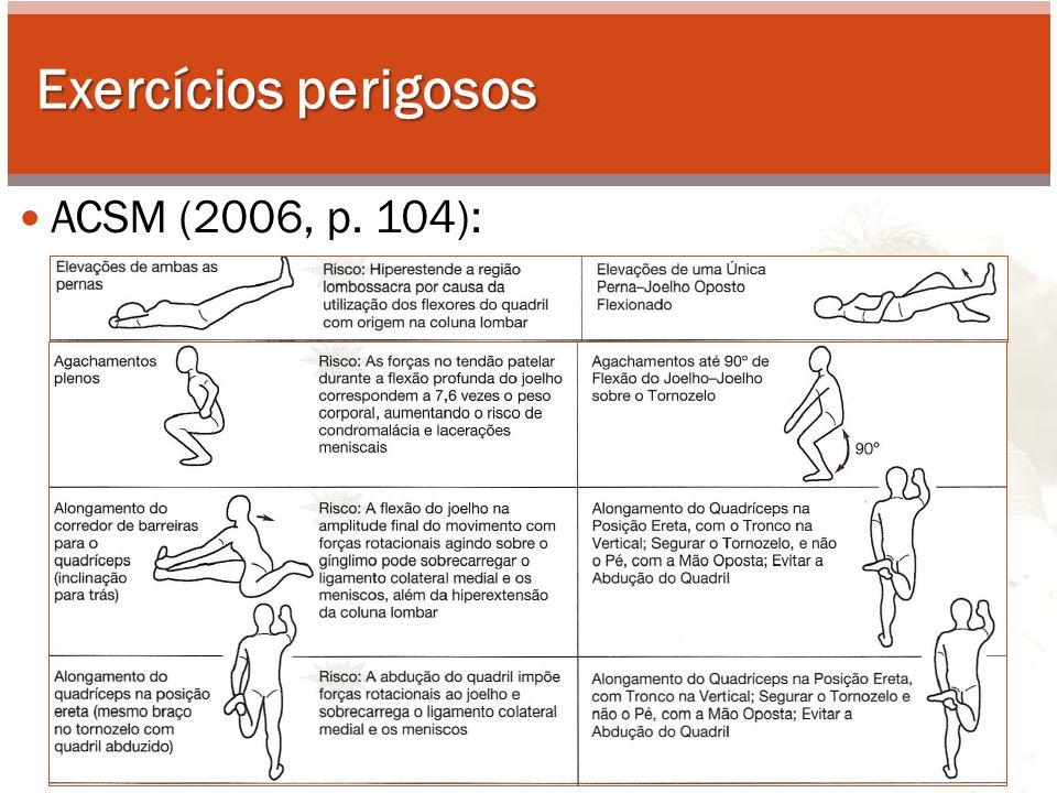 Exercícios perigosos ACSM (2006, p. 104):