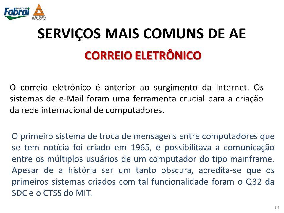 SERVIÇOS MAIS COMUNS DE AE O correio eletrônico é anterior ao surgimento da Internet. Os sistemas de e-Mail foram uma ferramenta crucial para a criaçã