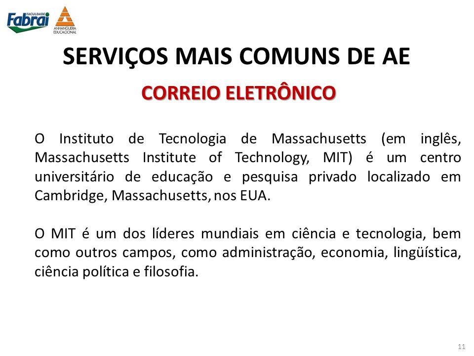 SERVIÇOS MAIS COMUNS DE AE O Instituto de Tecnologia de Massachusetts (em inglês, Massachusetts Institute of Technology, MIT) é um centro universitári