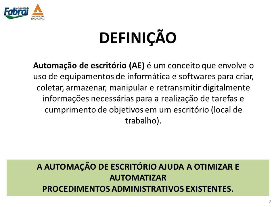 DEFINIÇÃO Automação de escritório (AE) é um conceito que envolve o uso de equipamentos de informática e softwares para criar, coletar, armazenar, mani