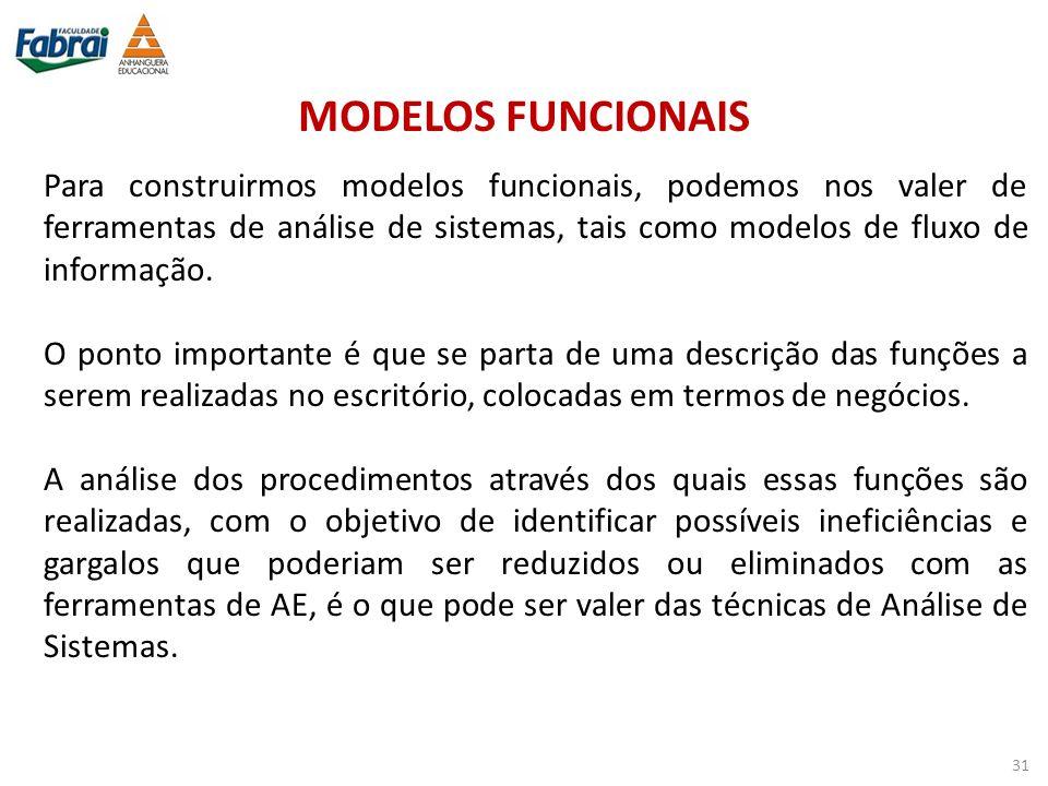 MODELOS FUNCIONAIS Para construirmos modelos funcionais, podemos nos valer de ferramentas de análise de sistemas, tais como modelos de fluxo de inform