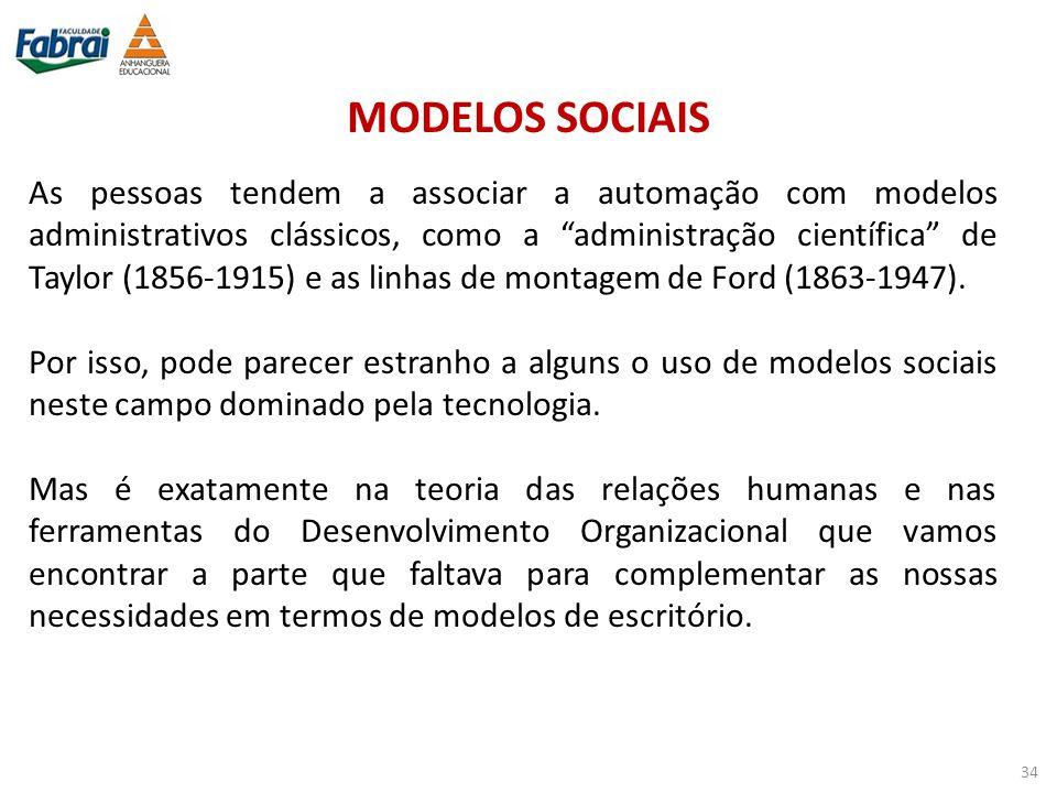 """MODELOS SOCIAIS As pessoas tendem a associar a automação com modelos administrativos clássicos, como a """"administração científica"""" de Taylor (1856-1915"""