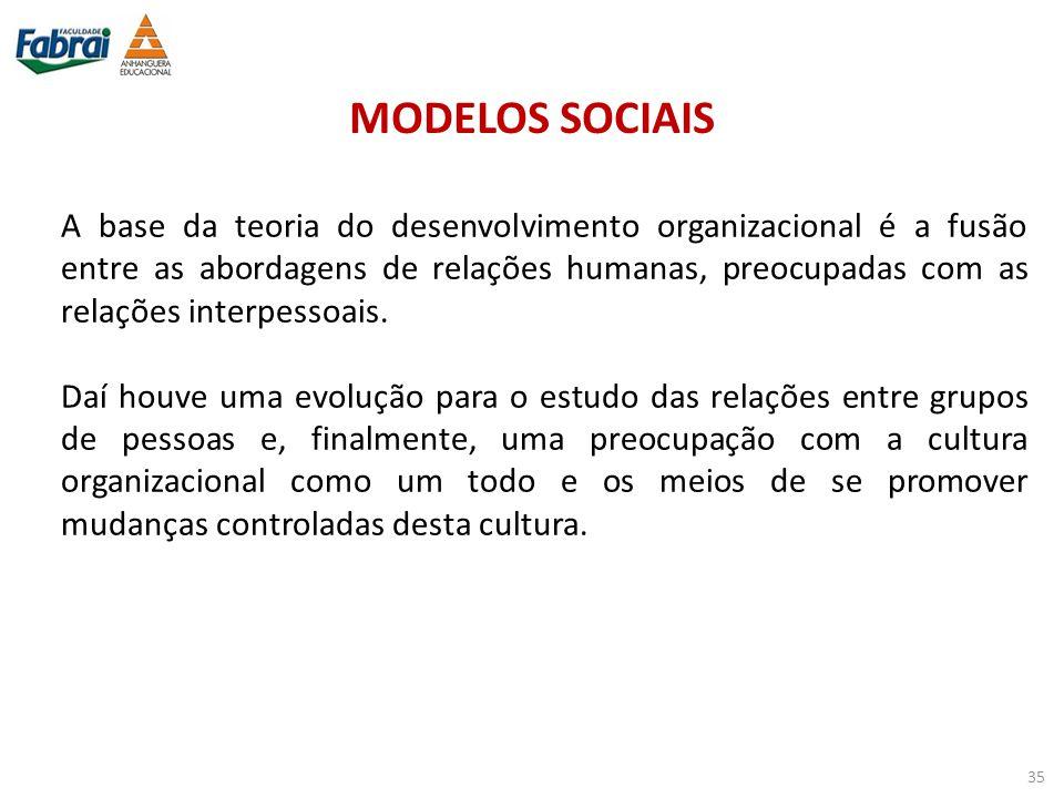 MODELOS SOCIAIS A base da teoria do desenvolvimento organizacional é a fusão entre as abordagens de relações humanas, preocupadas com as relações inte